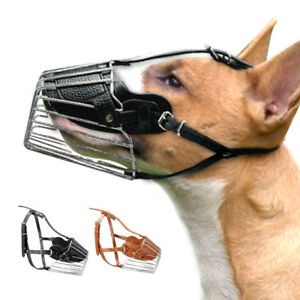 Metal STRONG Dog Muzzle Wire Basket Adjustable Leather Pit Bull Rottweiler S M L