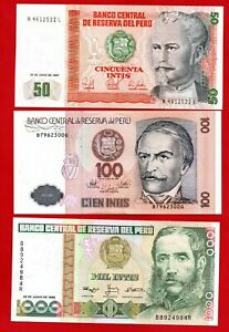 THREE PERU BANKNOTES DATED 1987 & 1988, IN MINT CONDITION. 3 x NOTES.