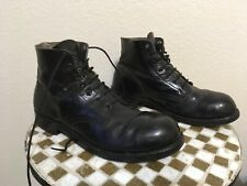 BLACK LEATHER STEEL TOE USA VINTAGE LACE UP FLIGHT DECK SERVICE ANKLE BOOTS 11EE