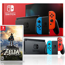 Nintendo Switch with Neon Blue and Red Joy-Con Bundle with The Legend of Zelda:
