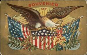 4th Fourth of July Eagle American Flags Gold Background c1910 Postcard