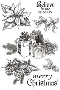 Kaisercraft Christmas Edition Clear Cling Stamps 7 pcs  Poinsettia Holly Gifts