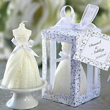 2X White Elegant Boxed Bride Dress Candle Wedding Party Table Decor Accessories
