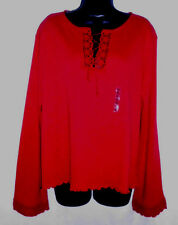 Mountain Lake Sweater Size X Large NWT Red 100% Cotton Long Sleeve Crochet Trim