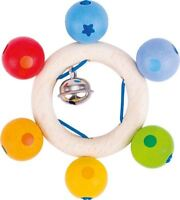 Heimess TOUCH RING RATTLE RAINBOW PEARLS Baby Wooden Toy BN