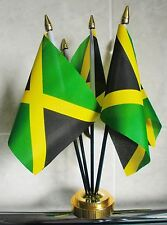 JAMAICA TABLE FLAG SET 5 flags plus GOLDEN BASE JAMAICAN CARIBBEAN RASTA