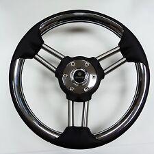 New OEM Gussi Boat Steering Wheel M802 Stainless Steel & Black Urethane Rim