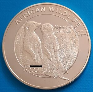 Zambia 5000 kwacha 2016 UNC Meerkat Suricate Mongoose Silver Plated Coin