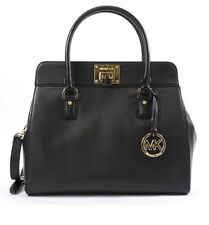 Michael Kors Astrid Leather Satchel Handbag Purse  Black Convertible New