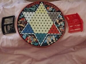 """1960s Pixie Game by Steven Tin Litho Reversible 13"""" Chinese Checkers Game"""