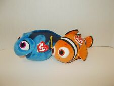 Ty Disney Sparkle Nemo & Finding Dory Stuffed Plush Beanie Babies Fish Nwt