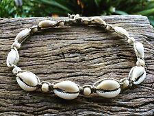 Hand Made Hemp Macrame Choker Necklace with Cowrie Shells & Timber Beads