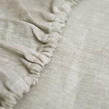 Leinen Spann-Bettlake Welna in 3 Farben: weiss, hell beige, natur grau braun