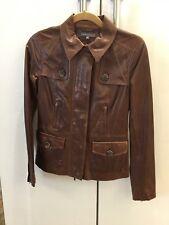 Vince Designer, Chestnut Brown Butter Soft Leather Jacket, Women Size Small