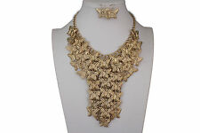 Women Gold Metal Long Necklace Chains Wide Butterfly Fashion Jewelry + Earrings