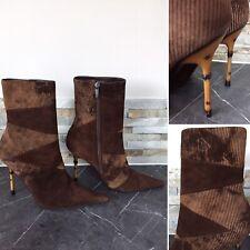 "Enzo Logana Brown Burnished Corduroy Bamboo Stiletto Heel 4.5"" Boots Eur39 UK 6"