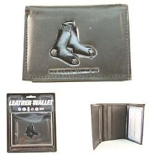 Boston Red Sox Black Leather Tri Fold Wallet Embossed Logo