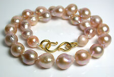 Gold AA+++ 12-14mm Kasumi-like freshwater pearl & gold vermeil necklace