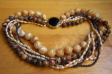 Amazing Vintage 7 Strands Agate Jasper Fresh Water Pearls Onyx Clasp Necklace