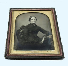 1/4 DAGUERREOTYPE PHOTO OF A WOMAN HOLDING BOOK BY HOLMES, NEW YORK STUDIO