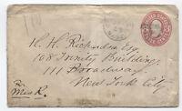 1860s Cambridge MA shield fancy cancel on 3ct pink envelope [y2502]