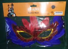 Halloween Blue and Red Feather  Mask