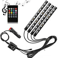4PCS 9LED RGB Car Interior Atmosphere Footwell USB Strip Lights Decor Lamp 12V