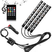 4PCS 9LED RGB Car Interior Atmosphere Footwell USB Strip Lights Decor Lamp 12V