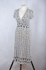 P397/09 Dorothy Perkins Sexy Viscose Jersey Wrap Cream Cap Sleeve Dress, UK 12