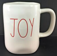 "Rae Dunn White Ivory Ceramic Mug ""JOY"" Christmas Holiday New Red Letters LL"