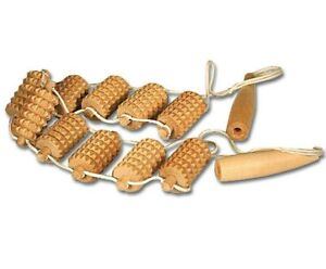 """16"""" Russian Birch Wooden Rope Back Massager Roller Hand held Made in Russia"""
