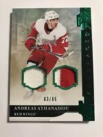 Andreas Athanasiou /65 Artifacts Dual Jersey Patch Insert Parallel Hockey Card