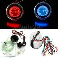 "2"" 52MM TURBO BOOST VACUUM CAR DIGITAL LED METER GAUGE TINT LENS BLUE RED US NEW"