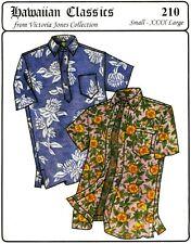 Hawaiian Button Down & Pullover Aloha Shirt S-4Xl Victoria Jones Sewing Pattern