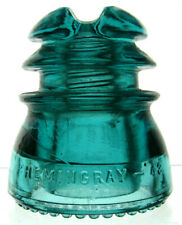 New ListingCd 214 Blue Aqua Hemingray - 43 Antique Glass Telegraph Insulator Nice Cable Top