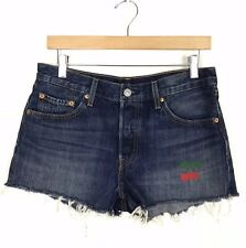 Levi's Size 28 Raw Hem Cut Off Shorts Button Fly Medium Wash Cherry Patch Blue