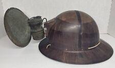 New listing Vintage Msa Skullgard Type K Full Brim Coal Miner Hard Hat w/ Auto Lite Lamp