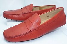 New Tod's Mens Red Shoes Loafers Drivers Size 8 Mocassin Gommini Leathe