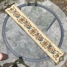 Vintage Floral Tapestry Brass Wall Hanging Bell Pull Needlepoint Victorian Rose