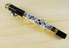 Jinhao lujo pen bolígrafo plata Dragon verde perlas Roller rollerball nuevo + estuche