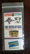 2X Florida Panthers vs. Anaheim Mighty Ducks 1/1/94 Pin Blockbuster NHL SEALED