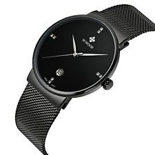 Wwoor para hombres banda de malla ultra fino relojes de acero inoxidable Macho Elite Sports fecha