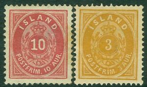 ICELAND : 1882-97. Scott #15, 26 Very Fine, Mint Original Gum Hinged. Cat $100.
