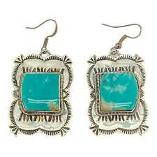 Native American Navajo Jewelry Sterling Silver Turquoise Dangle Earring Handmade