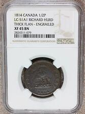 1814 Canada Richard Hurd Half Penny Thick Flan Token LC-51A1 - NGC XF 45 BN
