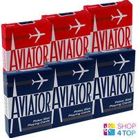 6 DECKS AVIATOR STANDARD INDEX PLAYING CARDS 3 RED 3 BLUE BOX CASE POKER USPCC