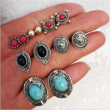 6Pairs/Set Boho Women Turquoise Metal Earrings Retro Jewelry Ear Stud Earrings