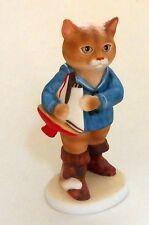 "1985 Schmid Cat/Kitten Figurine holding Sailboat ~ Gordon Fraser Vintage 4"""