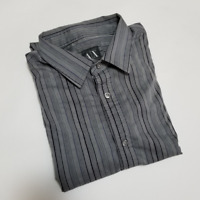 Armani Exchange Men's Gray Striped Long Sleeve Dress Shirt | Size M