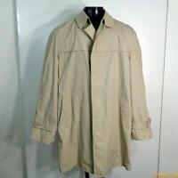 Vtg RAINCOAT Rain Trench Coat 42L Long khaki